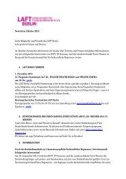 Newsletter Oktober 2011 Liebe Mitglieder und Freunde des LAFT ...