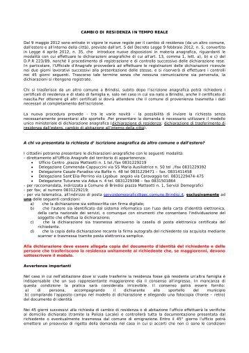 CAMBIO DI RESIDENZA IN TEMPO REALE - Comune di Brindisi