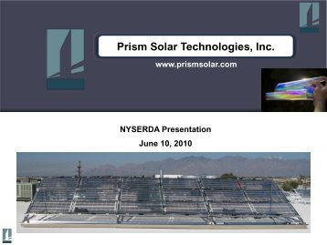 Prism Solar Technologies, Inc. - Business Incubator Association of ...