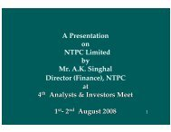 Presentation made at 4 th Analysts & Investors Meet held in ... - Ntpc