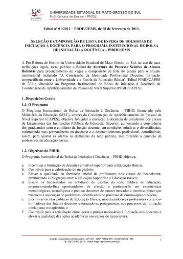 Edital nº 01-2013 PROE-UEMS Selecao de Alunos do PIBID 2013 1