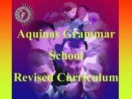 Aquinas Grammar School Revised Curriculum