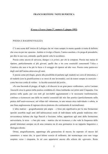1 FRANCO BUFFONI / NOTE DI POETICA Il rosso e il nero (Anno 2 ...