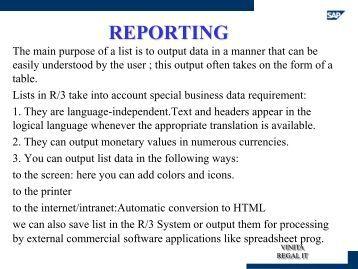 REPORTING - SAP Techies