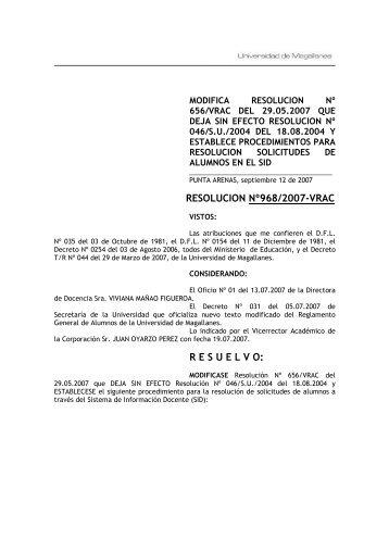 resolucion nº968/2007-vrac resuelvo - Universidad de Magallanes
