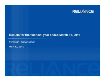 Download financial presentation for FY 2010-11 - Reliance Capital