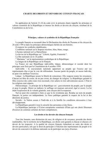 charte des droits et devoirs du citoyen français - Préfecture de Haute ...