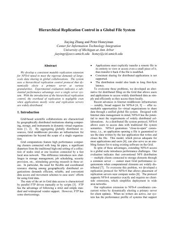 Hierarchical Replication Control in a Global File System