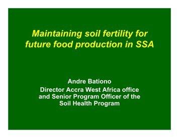Soil fertility - ETH - North-South Centre North-South Centre