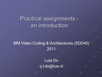 Practical part 5DD40 - Video Coding and Architectures Research ...