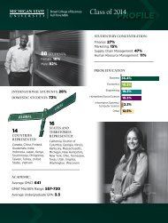 Class of 2014 Student Profile - MSU Full-Time MBA