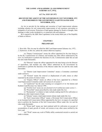 J&K Land Improvement Schemes Act - the official website of j&k ...