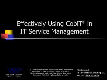Effectively Using CobiT© in IT Service Management - ITSM
