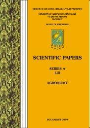 SCIENTIFIC PAPERS - Facultatea de Agricultură