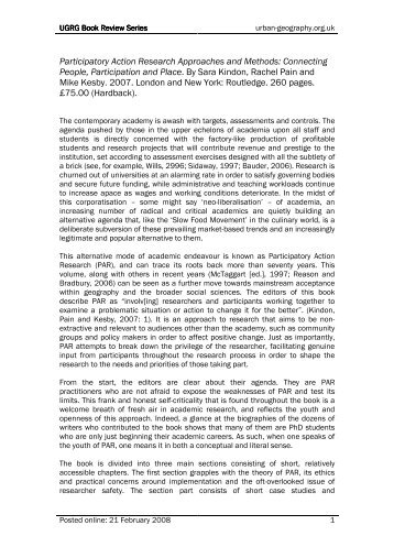 using participatory method to improve upon Action research on using participatory method to improv academic performance  topics: marketing, sales, selling pages: 4 (1415 words) published: november 26, 2013 the product concept is the better mousetrap philosophy that assumes consumers will favor those titles that offer the most quality in terms of appearance and content.
