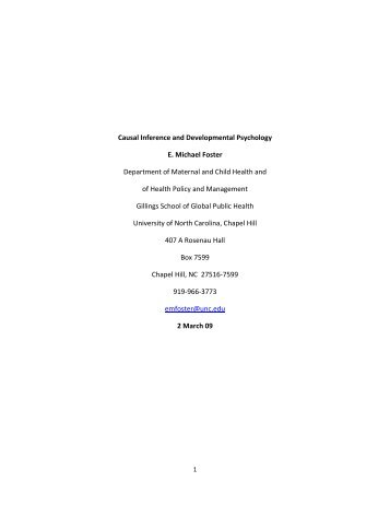 Causal Inference and Developmental Psychology E. Michael Foster ...