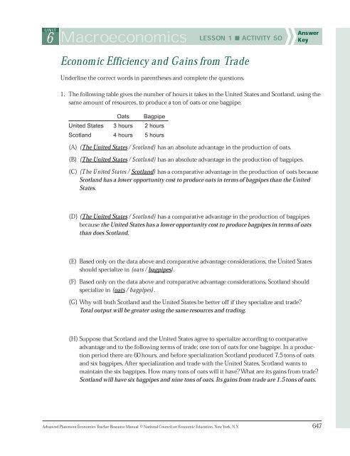 6 Macroeconomics LESSON 1 ACTIVITY 50