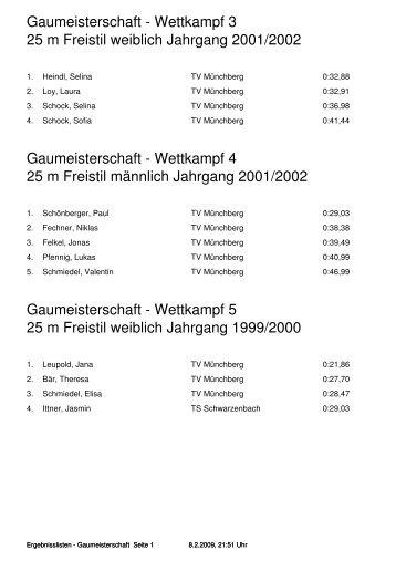 Gaumeisterschaft - Wettkampf 3 25 m Freistil weiblich Jahrgang ...