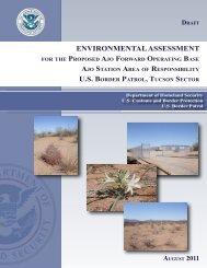 environmental assessment us border patrol, tucson sector