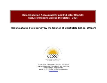 State Education Accountability Reports and ... - CCSSO projects