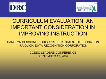 curriculum evaluation: an important consideration ... - CCSSO projects