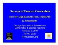 Using SEC Data in School Improvement, 2009 ... - CCSSO projects