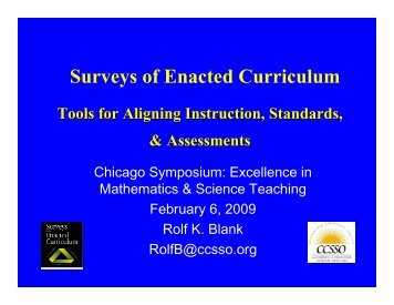 Using SEC Data in School Improvement, 2009 ... - CCSSO projects