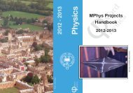 MPhys Projects Handbook 2012-2013 - Department of Physics ...