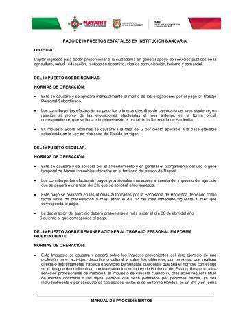 Pago de Impuestos Estatales en Institucion Bancaria. - Secretaría de ...