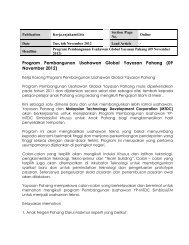 Program Pembangunan Usahawan Global Yayasan Pahang (09 ...