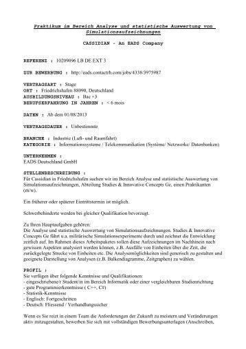 Praktikum im Bereich Analyse und statistische Auswertung von ...