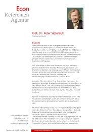 Prof. Dr. Peter Sloterdijk - Econ Referenten-Agentur