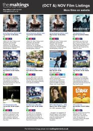 (OCT &) NOV Film Listings More films on website - The Maltings