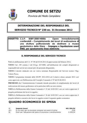 230 del 31.12.2012 - Impegno e liquidazione ... - Comune di Setzu