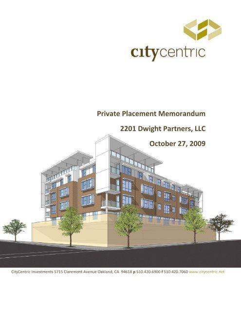 Private Placement Memorandum 2201 Dwight Partners, LLC