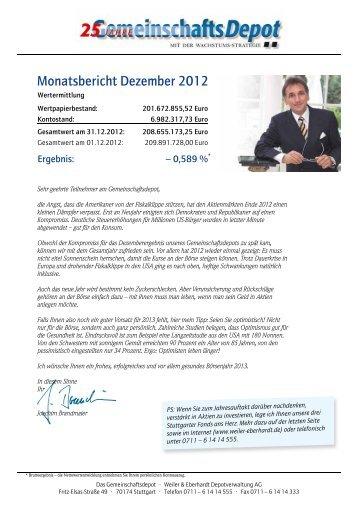 Monatsbericht Dezember 2012 - Weiler Eberhardt Depotverwaltung ...