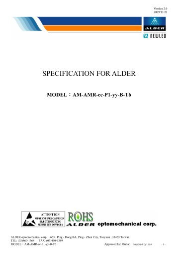 SPECIFICATION FOR ALDER - REGO-Lighting GmbH