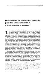 Quel modèle de transports collectifs pour les ... - Politique Africaine