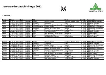 Senioren-Tanznachmittage 2012 - Pro Senectute Kanton Bern