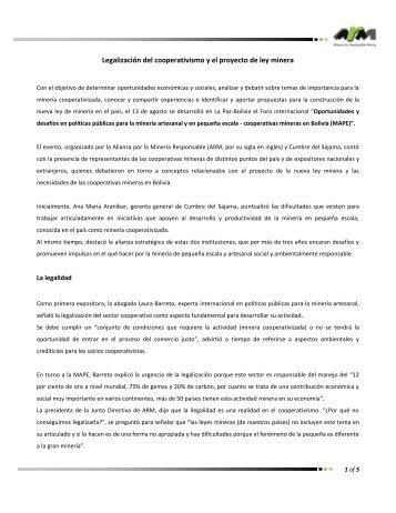 MACDESA - PERU - Alianza por la Minería Responsable