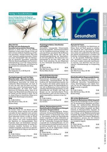 Programm Frühjahr/Sommer 2014: Gesundheit - VHS SüdOst
