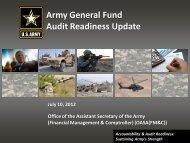 Audit Readiness Update - ASA(FM&C) - U.S. Army
