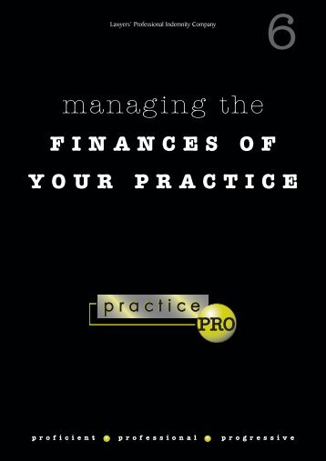 Managing the Finances of Your Practice Booklet - practicePRO.ca