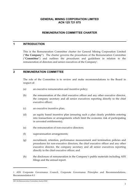 the Board, Board committees and individual directors - General Mining