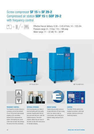Screw compressor SF 15 to SF 29-2 Compressed air station SDF 15 ...