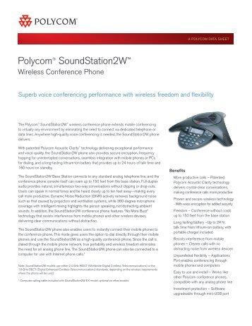 Polycom® SoundStation2W™ Wireless Conference Phone Data Sheet