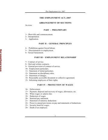 Employment Act - Kenya Law Reports