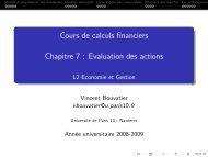 Cours de calculs financiers Chapitre 7 : Evaluation des ... - EconomiX