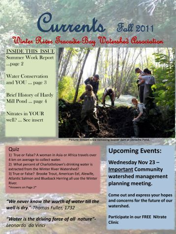 2011 Fall Newsletter - Winter River-Tracadie Bay Watershed ...
