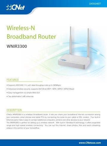 WNIR3300 Datasheets - CNet